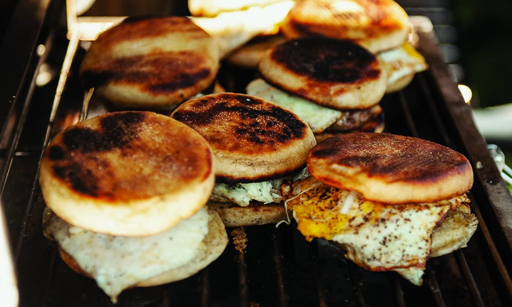 breakfast sandwich cheese egg griddle camping cowgirl magazine