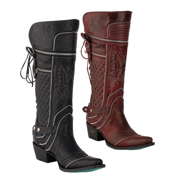 lane cowboy boots western red black zip up cowgirl magazine