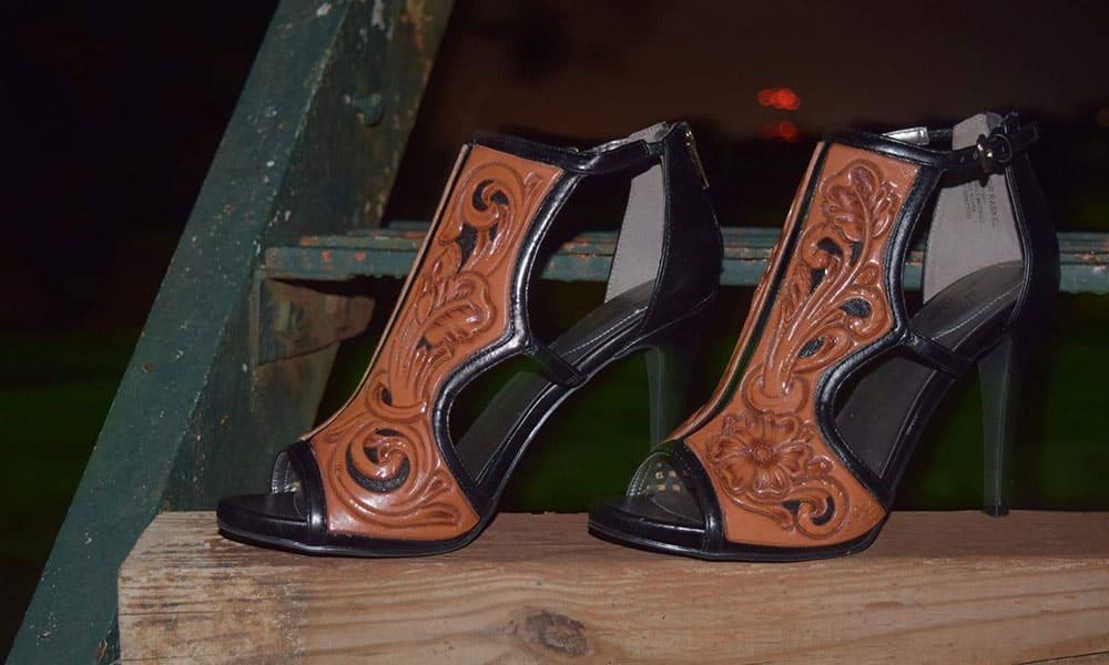 Jason Becker custom leather tooled high heel leather shoes cowgirl magazine