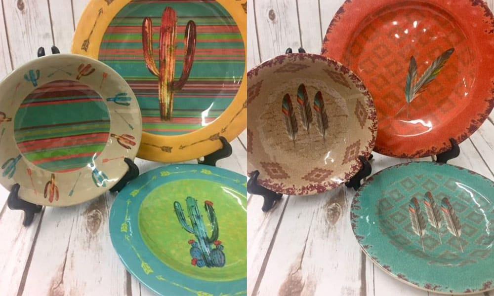southwestern inspired plates feather cactus cowgirl magazine