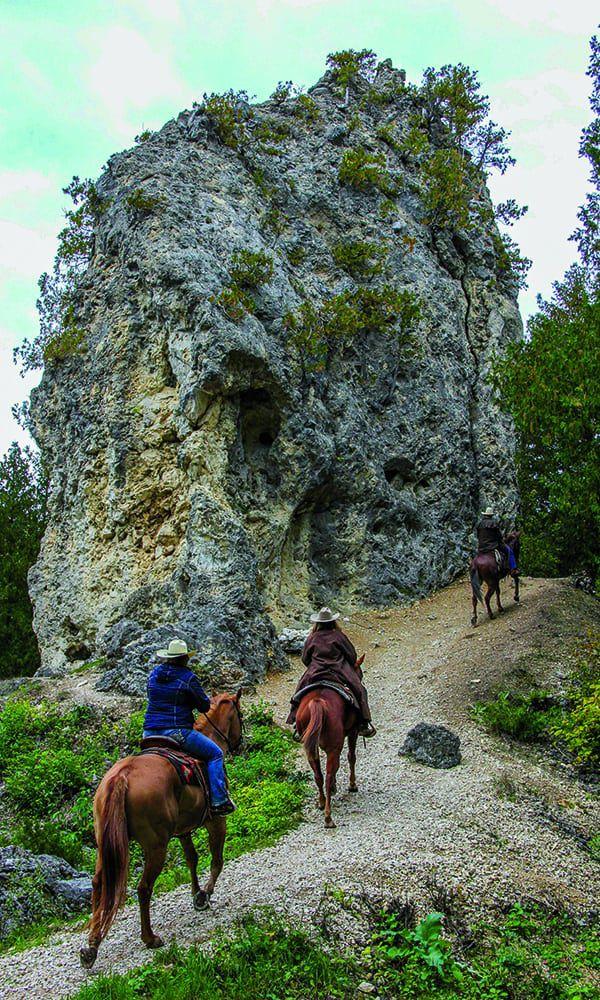 mackinac island sugar loaf rock landmark horse riding trails cowgirl magazine