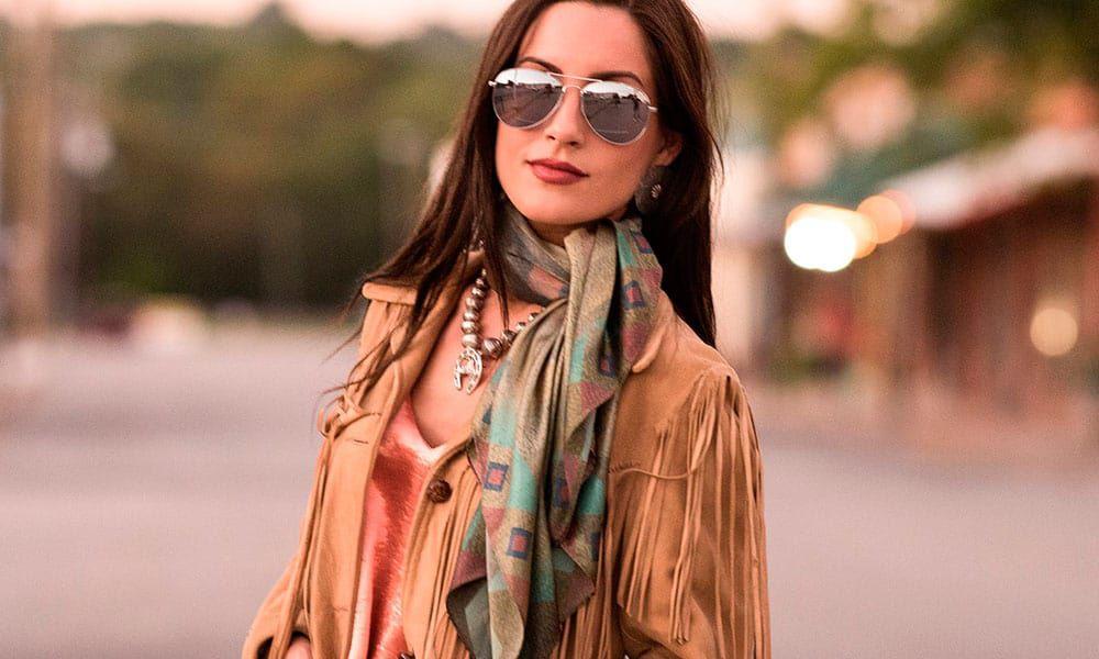 seed bead silk scarf fringe scarves western cowgirl magazine
