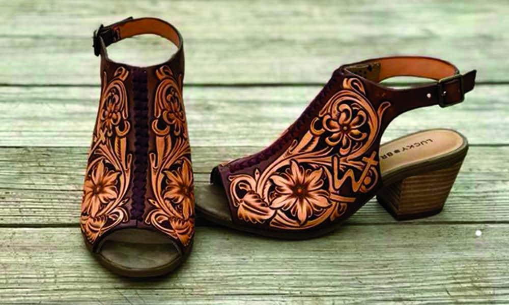 jason becker custom leather tooled sandals cowgirl magazine