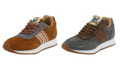 brown shoe with strips next to grey shoe