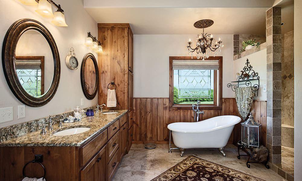 western fancy bathroom with two sinks and a bathtub cowgirl magazine