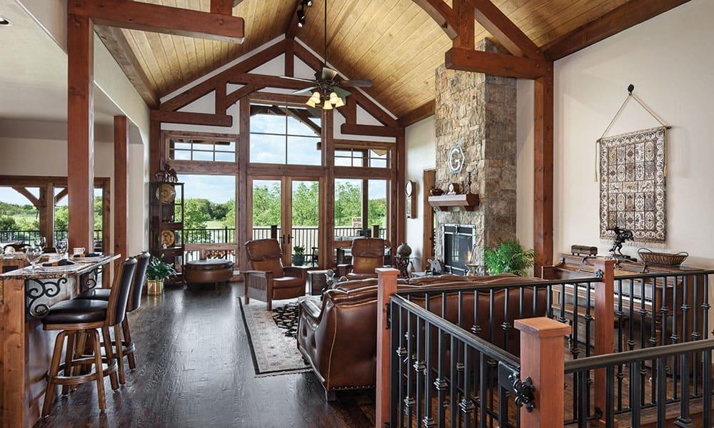 timber frame living room oklahoma mansion cowgirl magazine