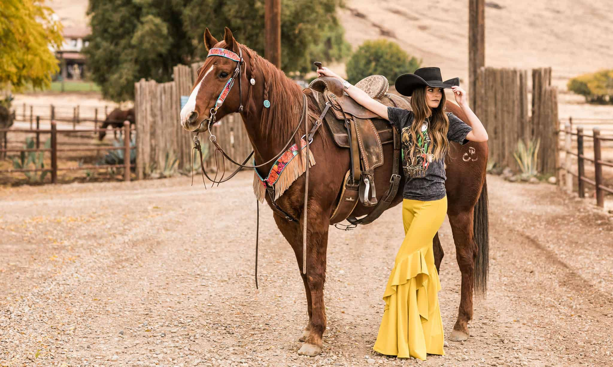 rodeo quincy tack on a horse with a girl wearing rodeo qunicy clothes