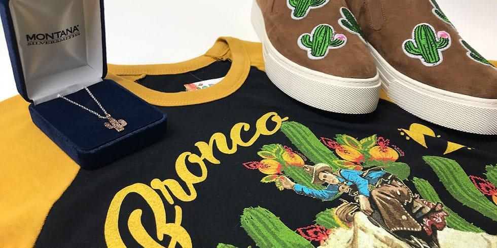 cactus necklace, cactus bronc t-shirt, cactus shoes