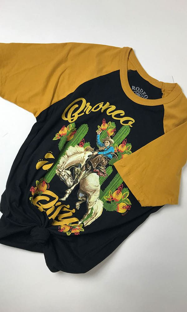 spring t-shirt with gold sleeves, bronco and cactus