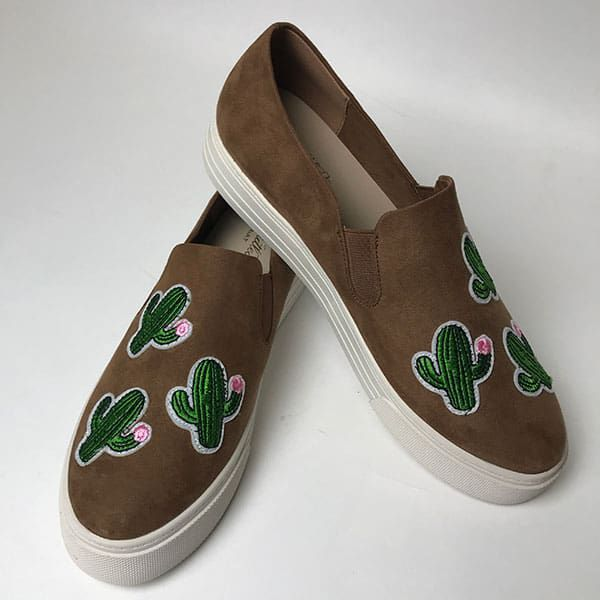 cactus on brown shoes for spring