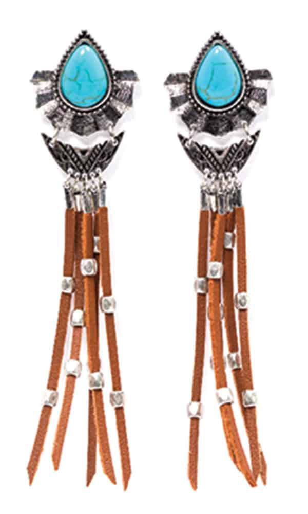 shyanne leather and turquoise earrings boot barn cowgirl magazine