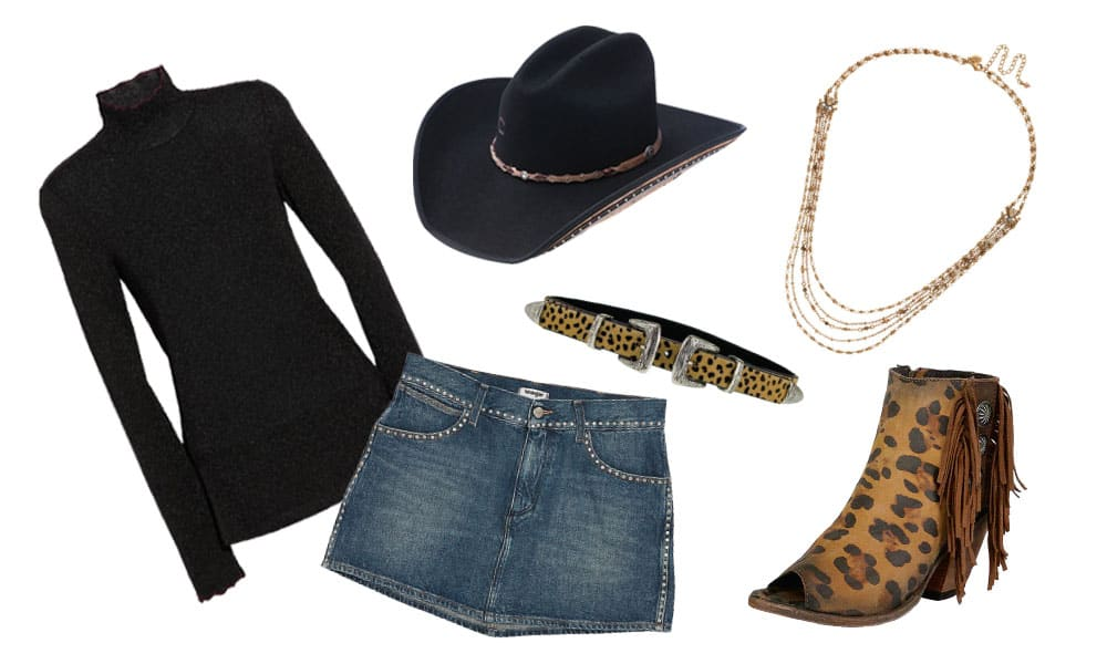 black shirt denim skirt and animal print accessories cowgirl magazine