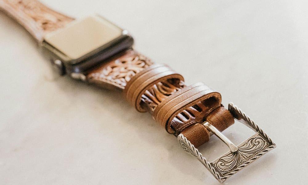 Apple Watch watchband Rockin out silver Justin walker Jason Becker custom leather cowgirl magazine