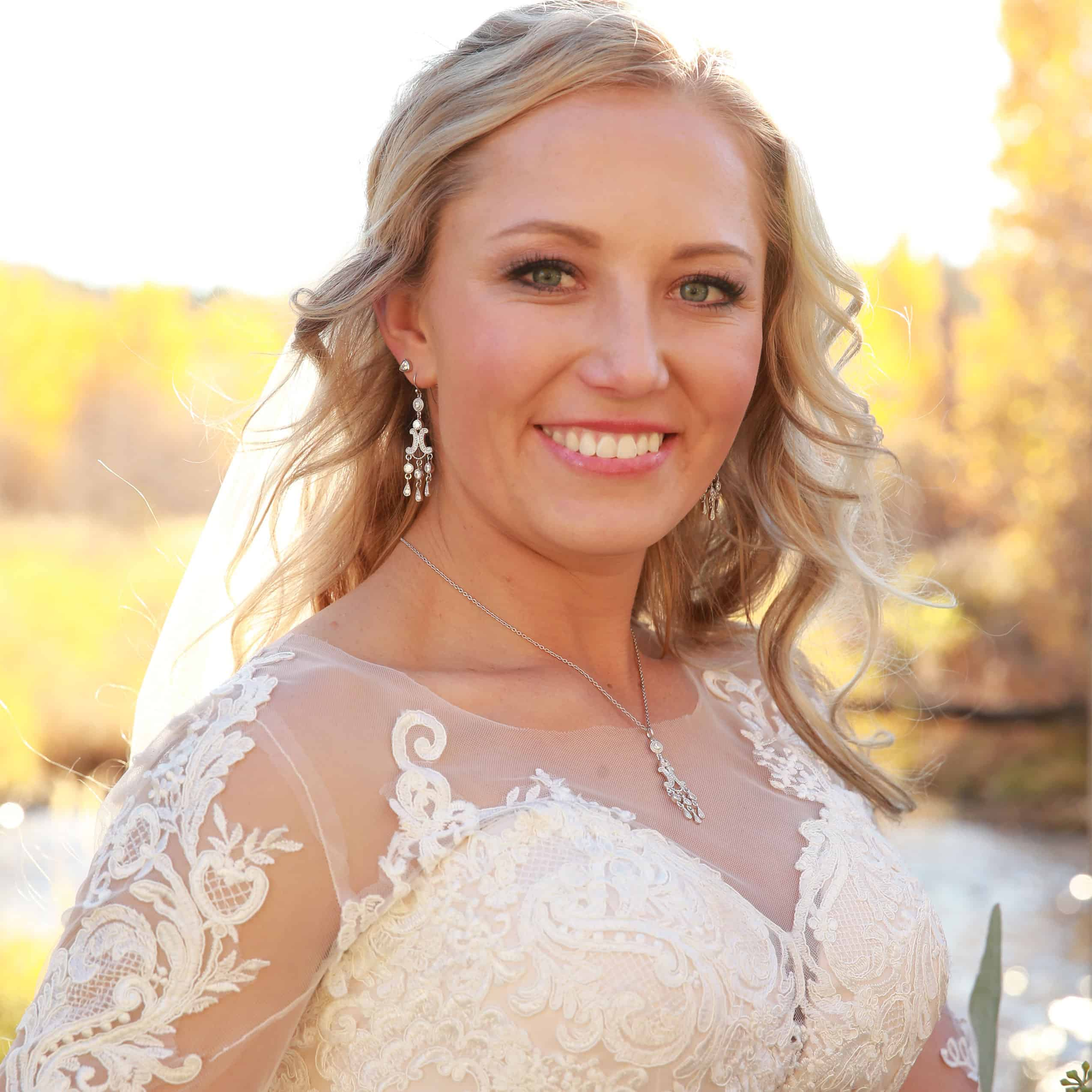 Montana Silversmiths necklace and earrings on a bride on her wedding day