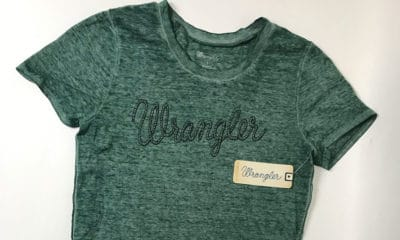 green tee from Wrangler