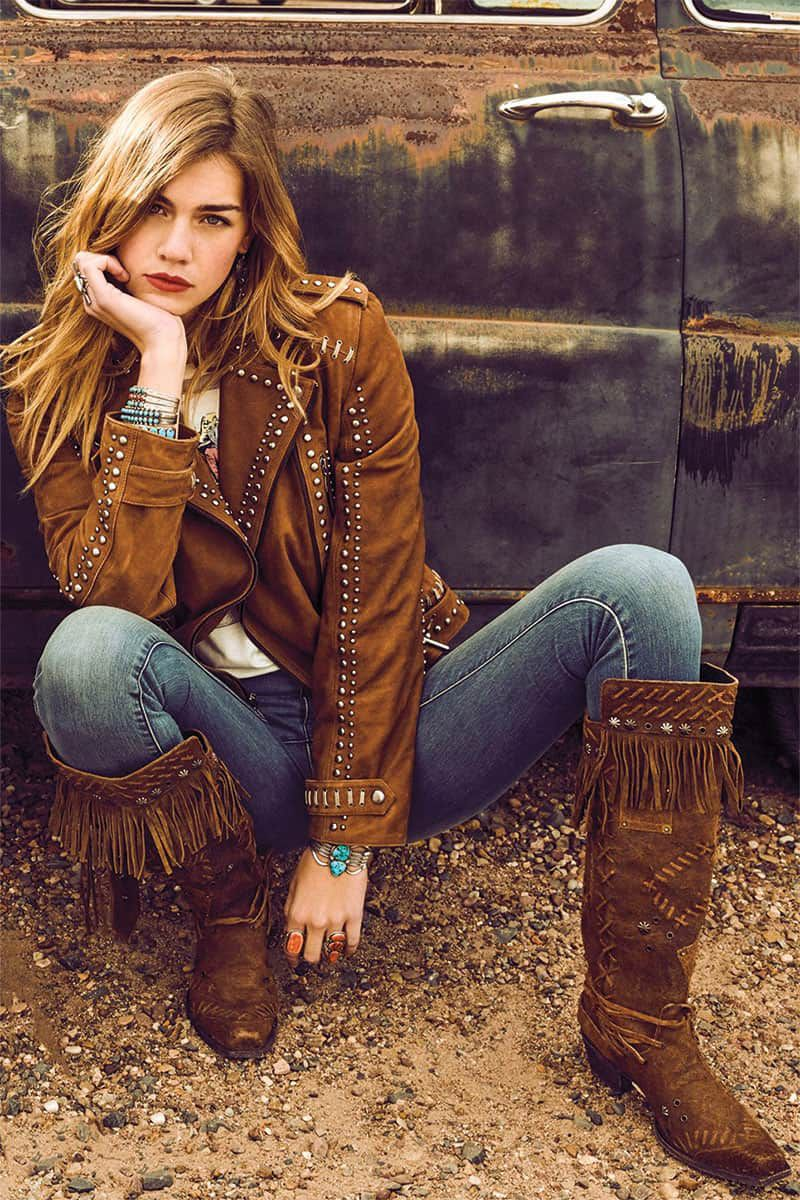 girl in apache junction jacket and brown boots double d cowgirl magazine