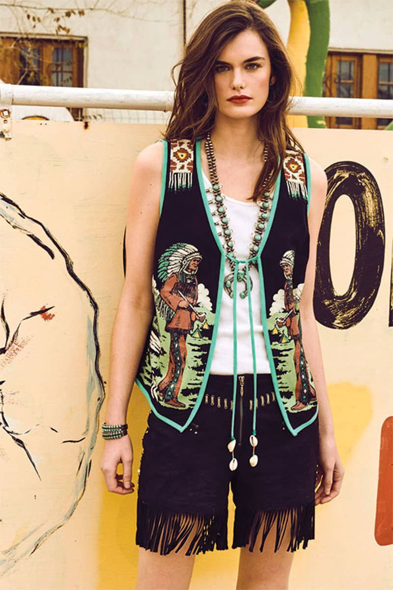 in the vest vest and fringe shorts double d ranchwear cowgirl magazine