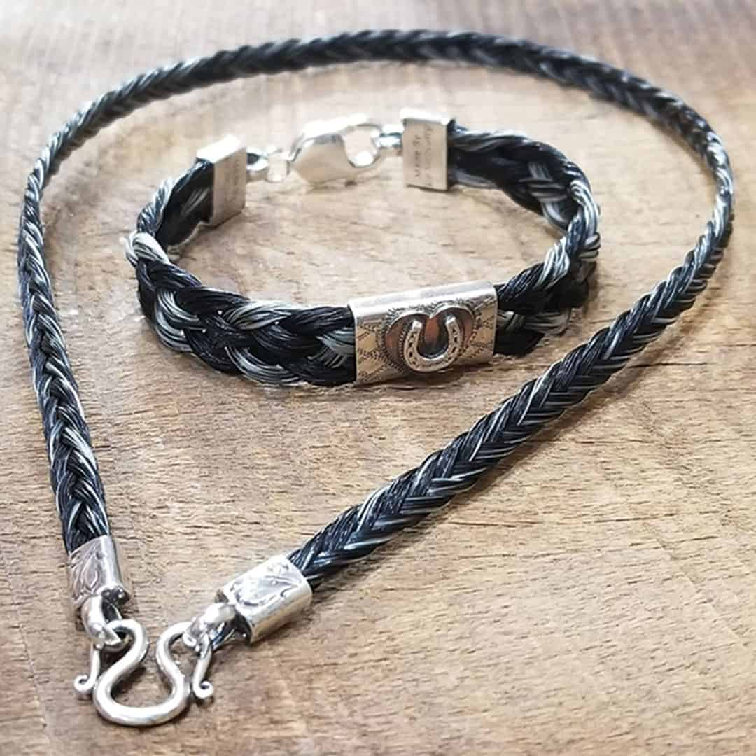 im silver black horse hair necklace and bracelet cowgirl magazine
