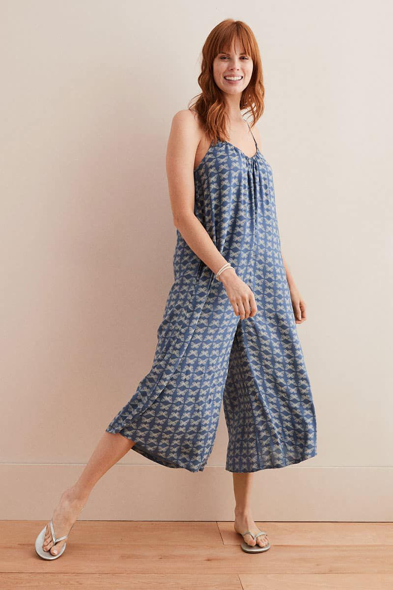 blue culotte jumpsuit from aerie cowgirl magazine