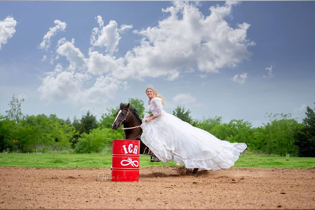 Mom's wedding dress. This Bride Is Running Barrels In Her Mom's Wedding Dress bridal running barrels cowgirl magazine