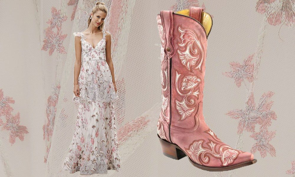 cowgirl prom bhldn dress pink boots cowgirl magazine