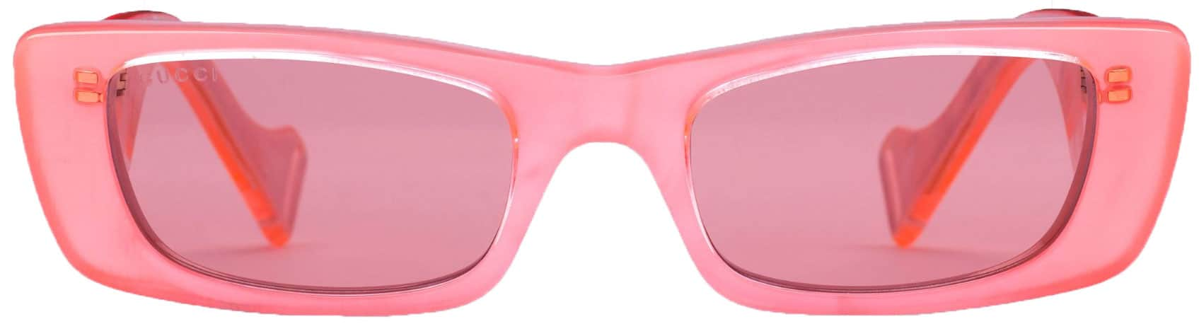 florescent pink sunglasses from Gucci