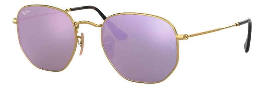 hexagonal sunglass trend in lilac color with gold rims