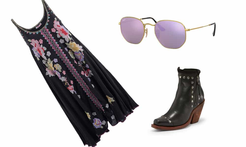 johnny was black spring dress, black reba by justin boots and lilac hexagon sunglasses