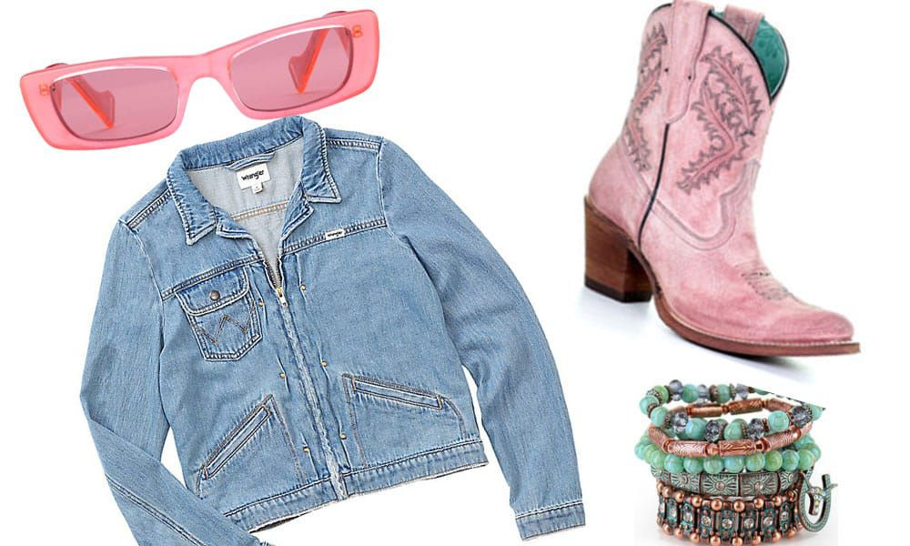 pink sunglasses, denim zip up jacket, pink cowgirl boots, bracelets