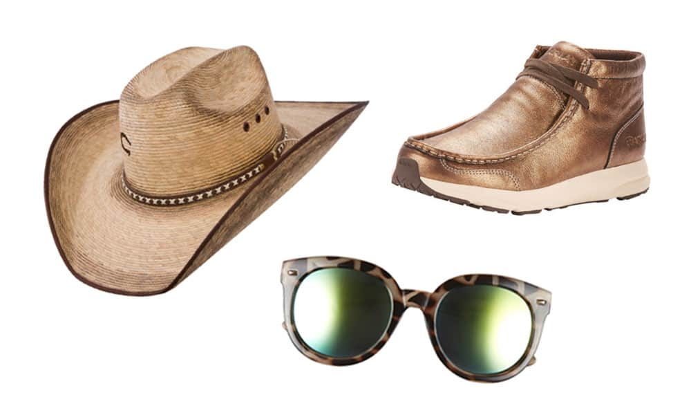 straw hat from Charlie 1 horse, metallic shoes from Ariat, metallic sunglasses