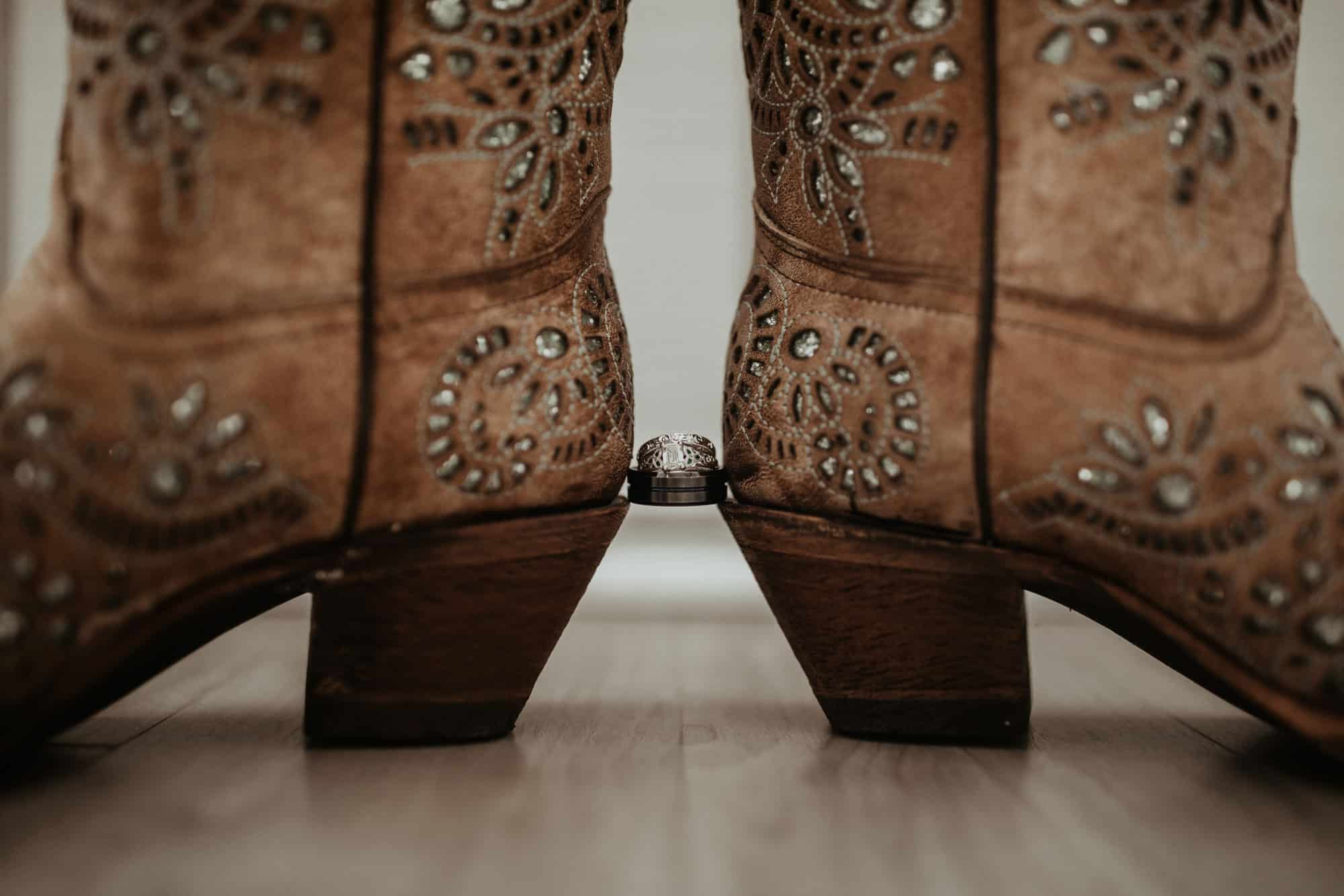 corral boots with wedding rings