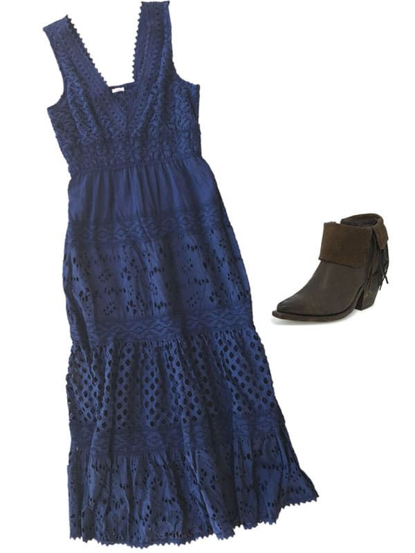 reba blue crochet dress with fringe boots from reba by justin