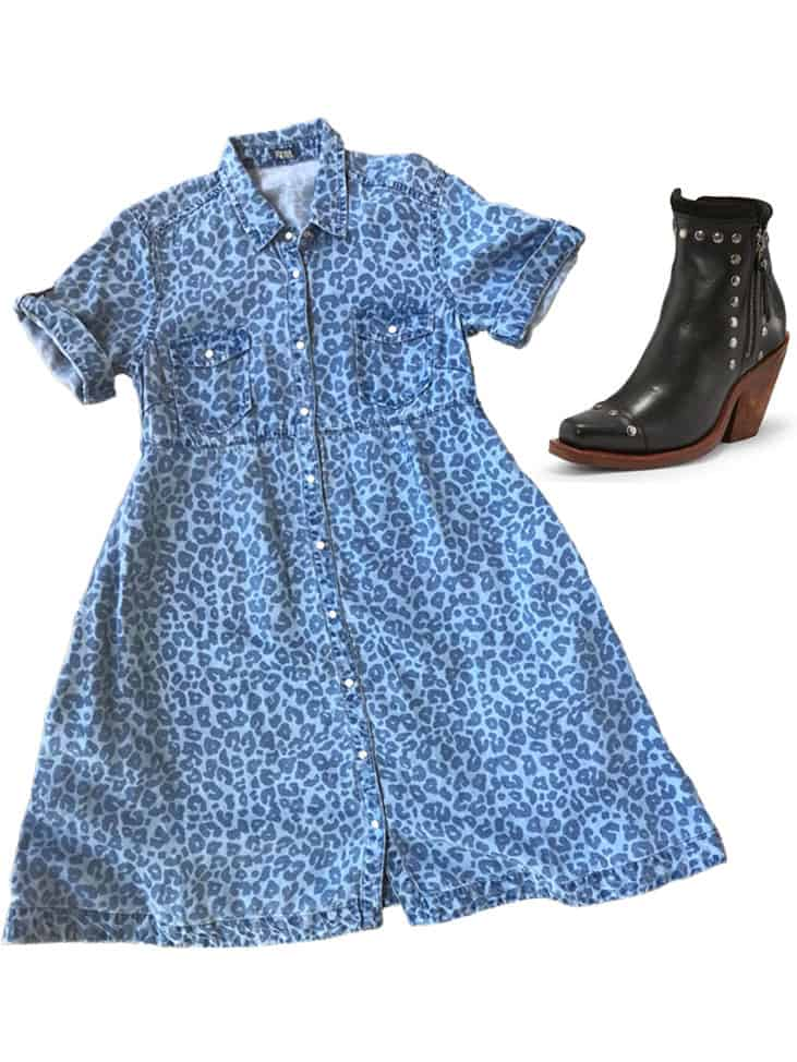 printed dress and studded boots for a sophisticated look