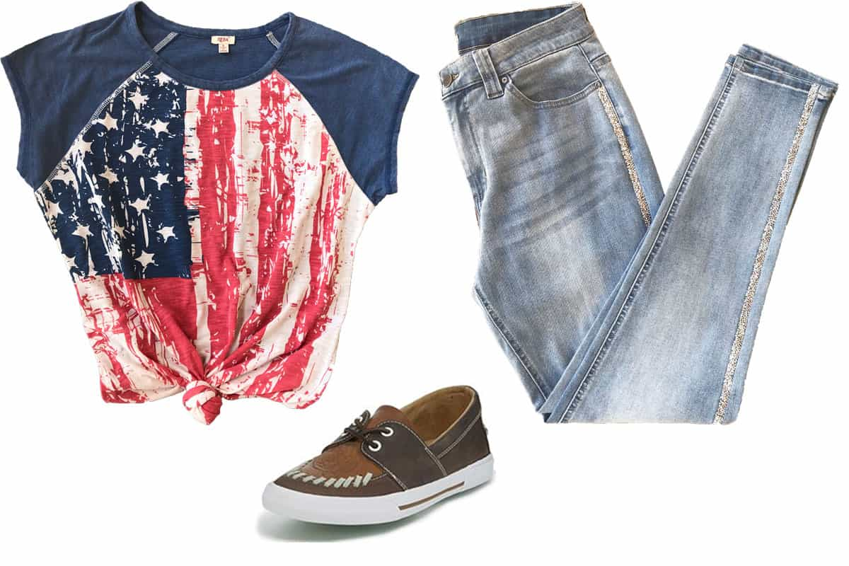 flag shirt, sparkle jeans, brown shoes