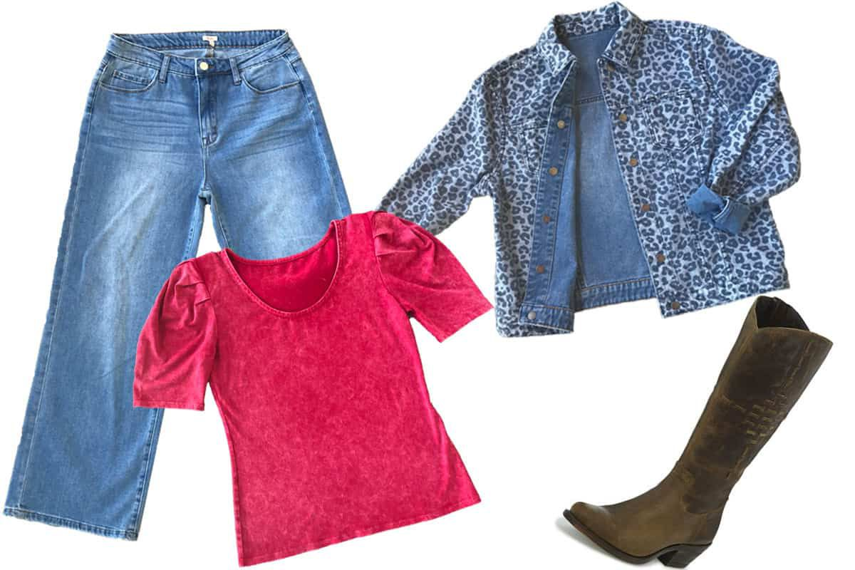 cropped pants, spicy colored top, reversible jacket by reba and brown justin by reba boots
