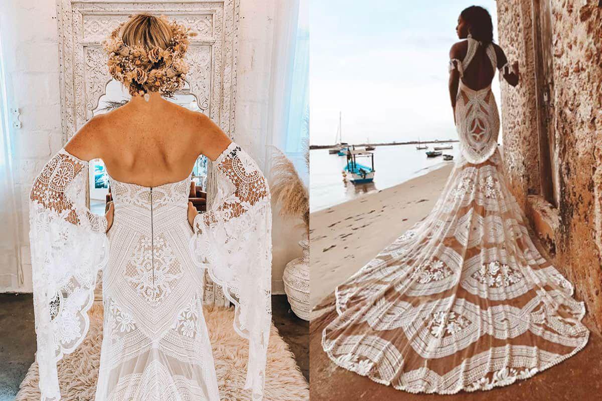 rue de seine bridal bride wedding dress wedding gown cowgirl magazine cowgirl bride boho hippie fringe tassel tassels boho bride