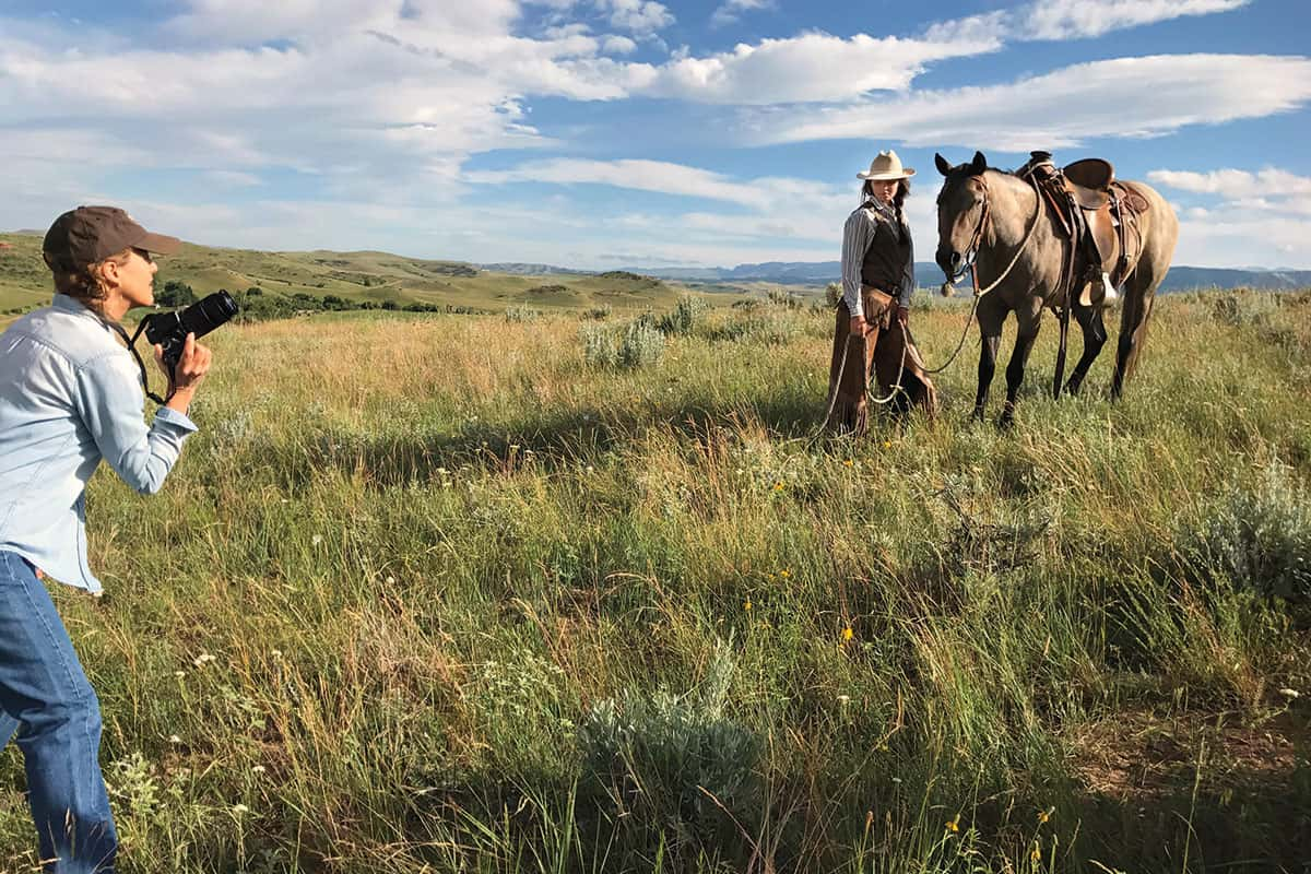 carrie ballantyne directing a subject cowgirl magazine