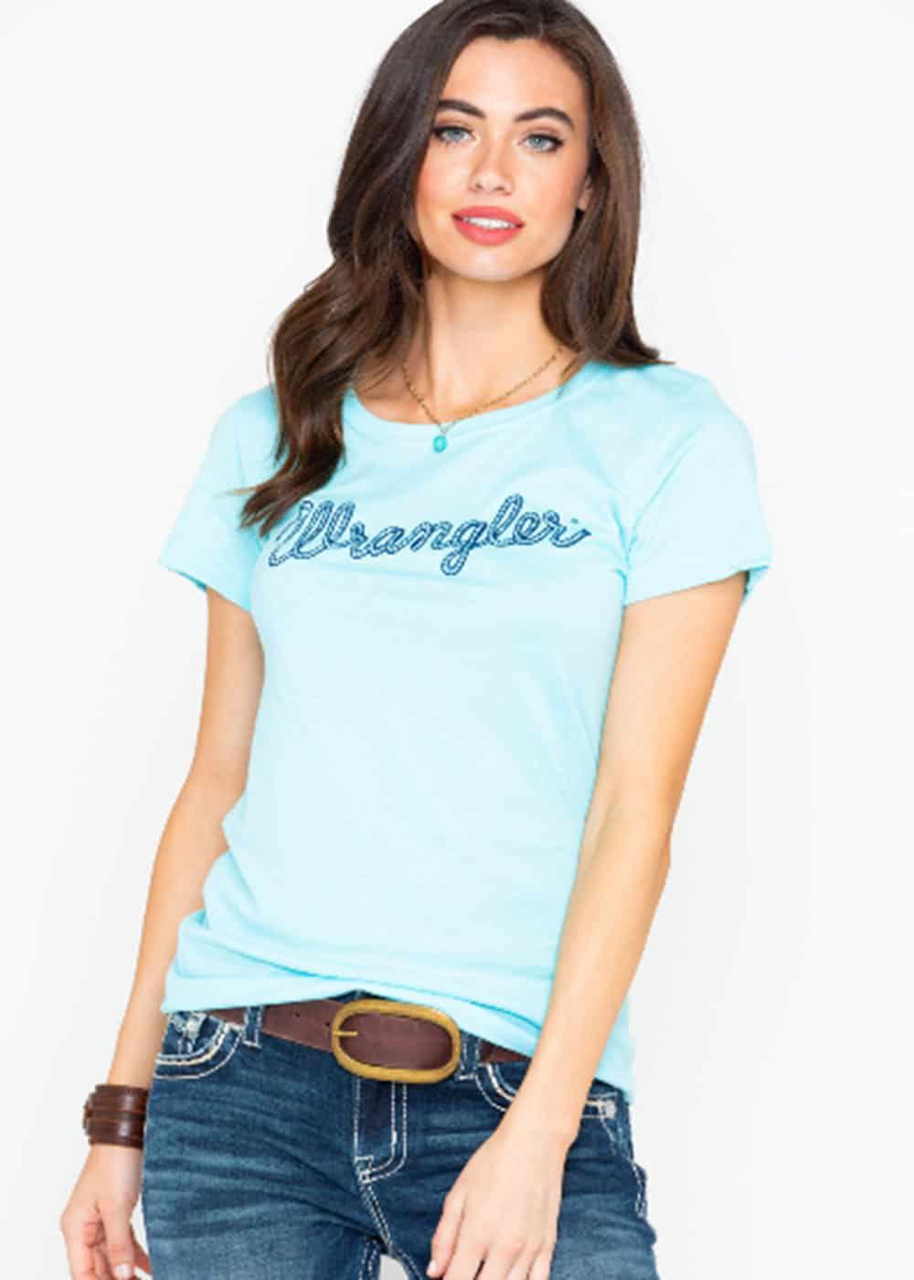 wrangler womens turquoise rope logo tee boot barn cowgirl magazine