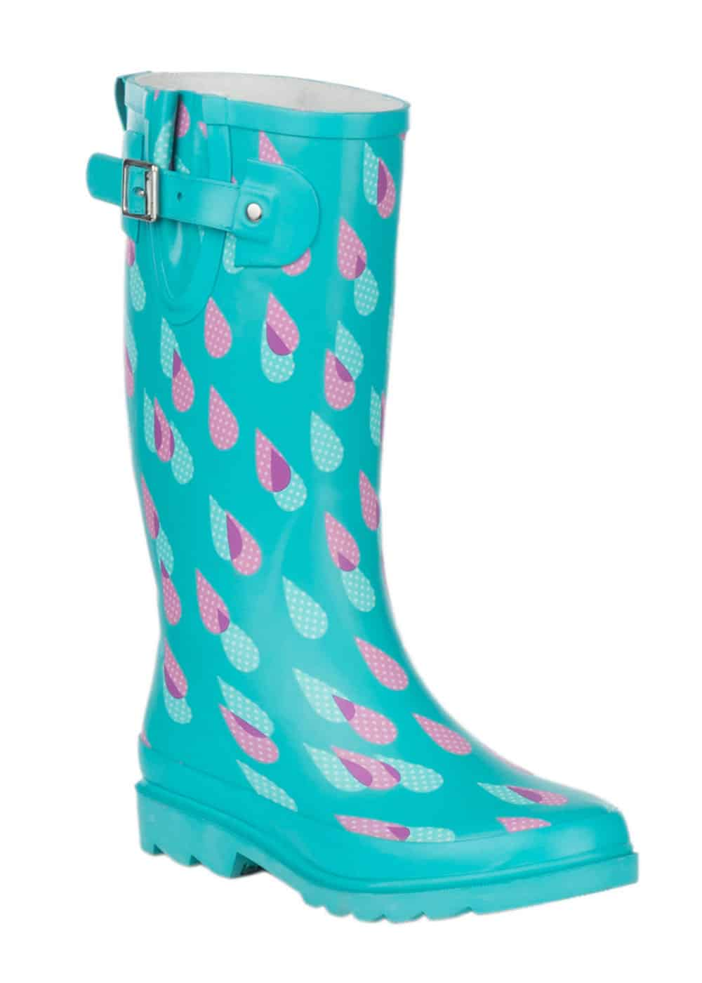 turquoise rain boots with raindrops cavenders cowgirl magazine