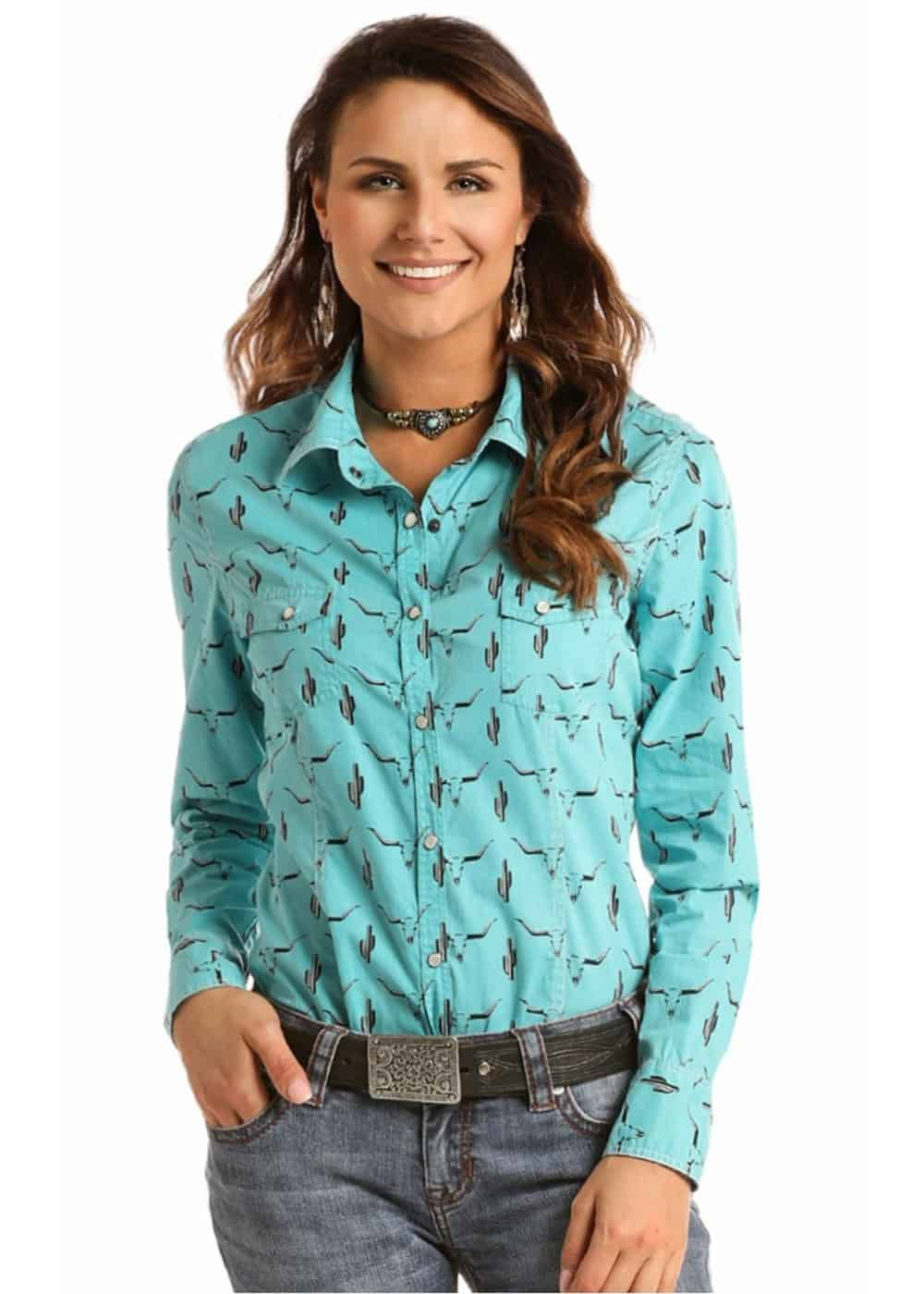 rock and roll cowgirl poplin print snap shirt cowgirl magazine