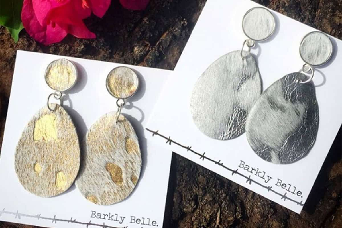 barkly belle cowhide earrings cowgirl magazine