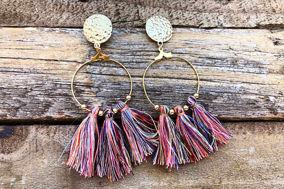 Cotton tassel gold hoop earrings $12 jessa joy jewelry