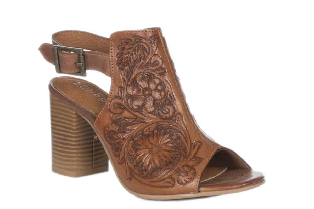 roper womens tan tooled open toe fashion heel cowgirl magazine