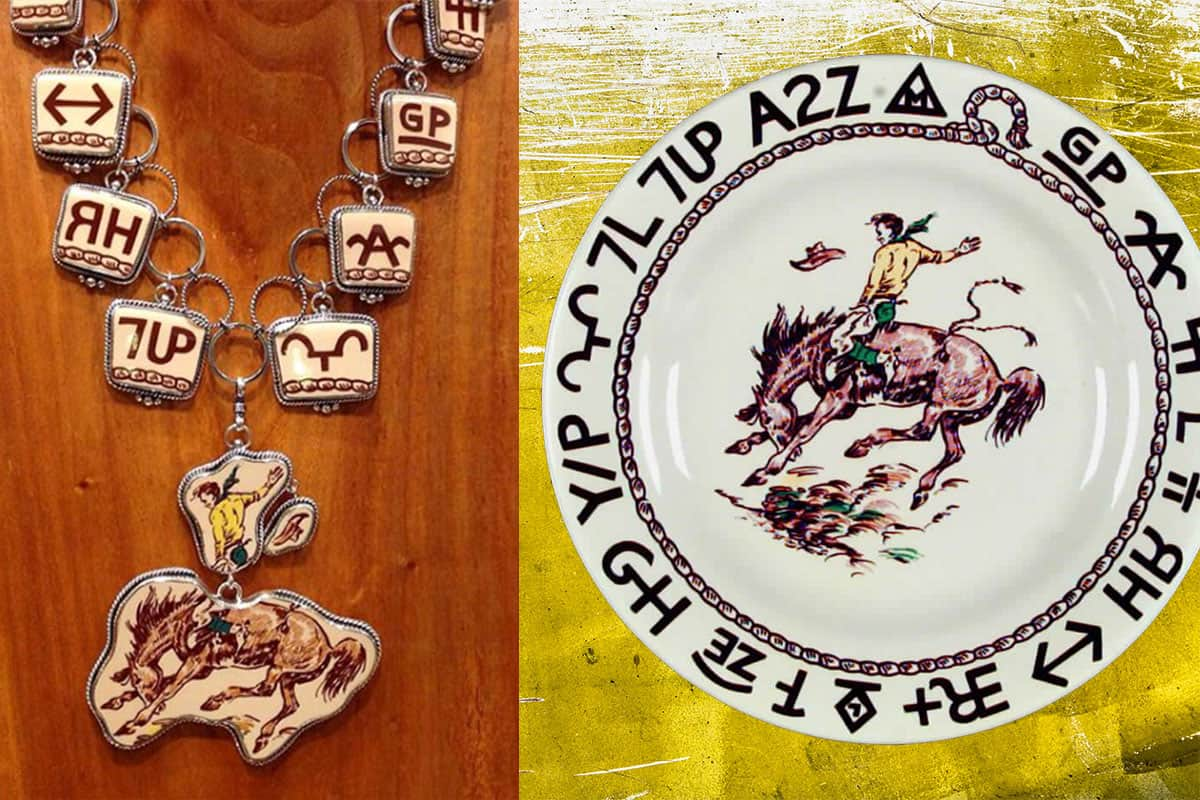 western vintage revival cowgirl magazine jewelry necklace china plate plates dishes broken plate broken plates broken dish broken dishes