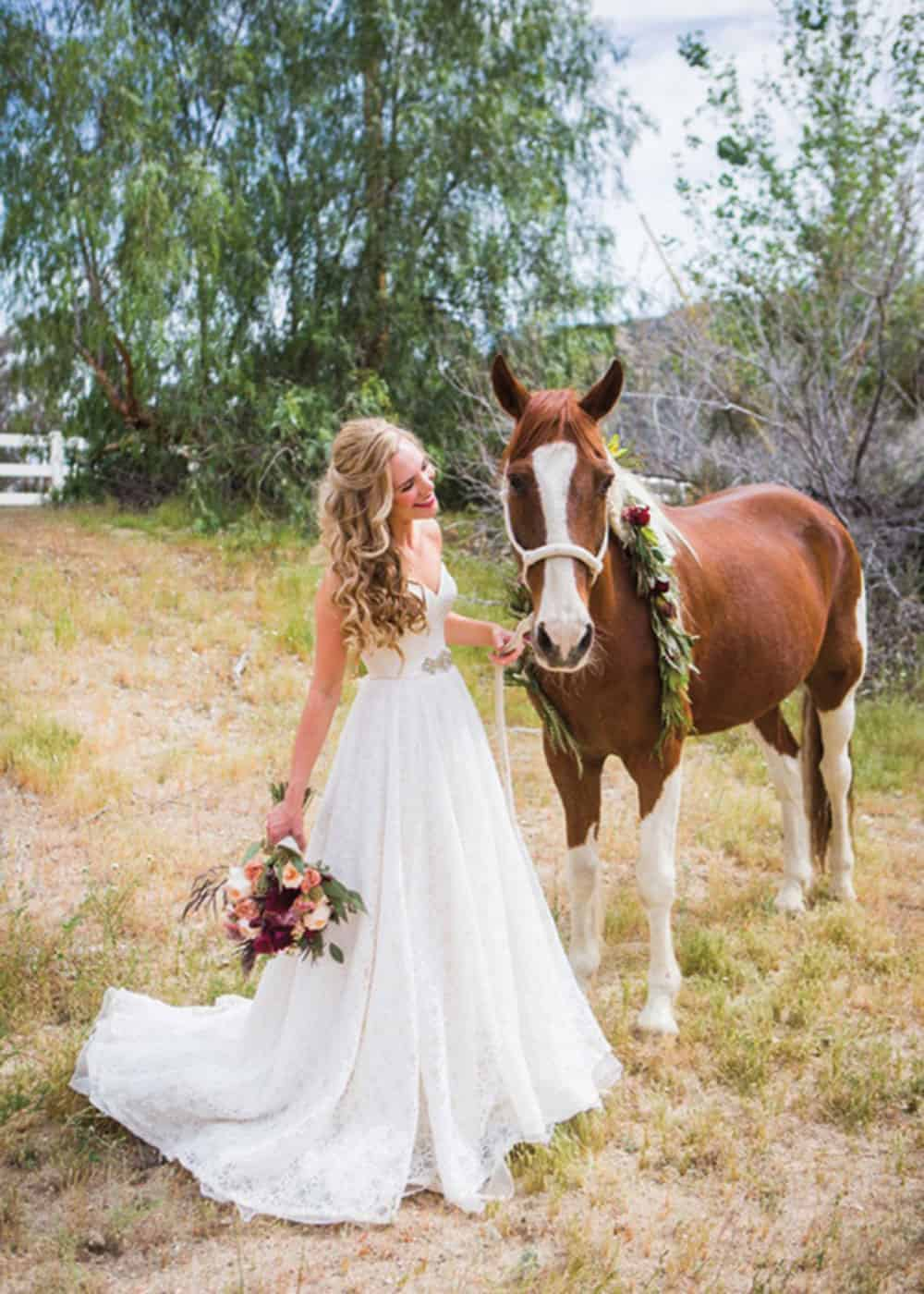 horse and bride larissa bahr photography cowgirl magazine