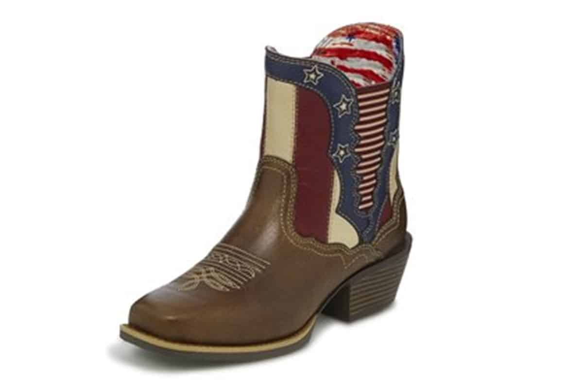 justin chellie western american flag boot cowgirl magazine