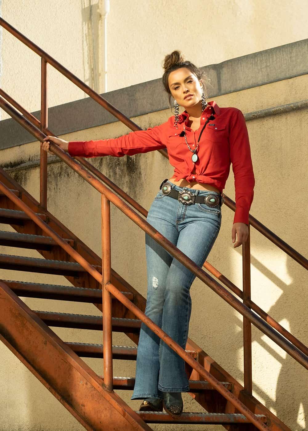retro high rise flare jean fall line cowgirl magazine