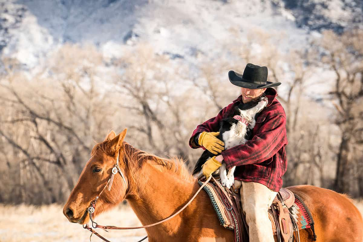man on horse with dog cowgirl magazine