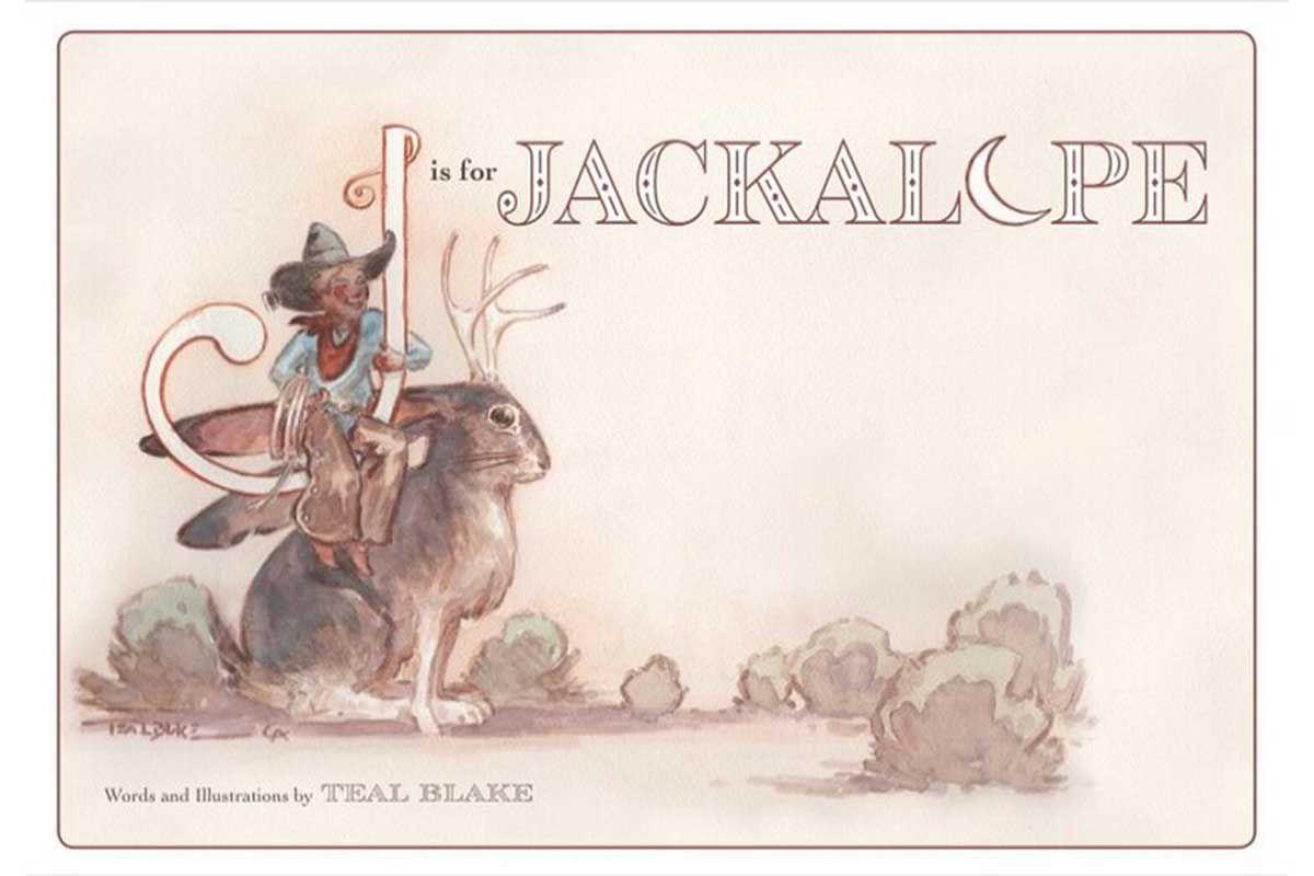 j is for jackalope teal Blake teal coke Blake art children's book