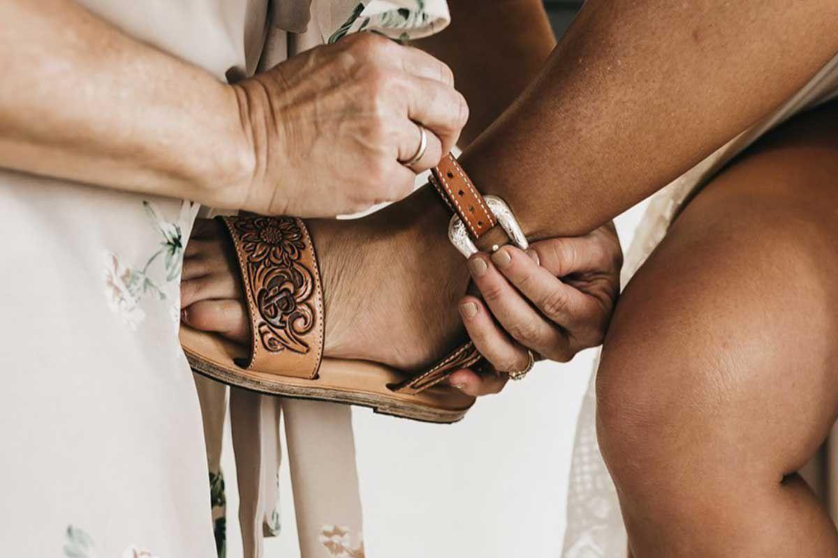 Jason Becker custom leather cowgirl magazine leather sandals tooled leather